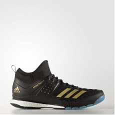 Adidas Crazyflight X Mid Volleyball Shoes Mens Core Black/Metallic Gold/Icey Blue BY2446